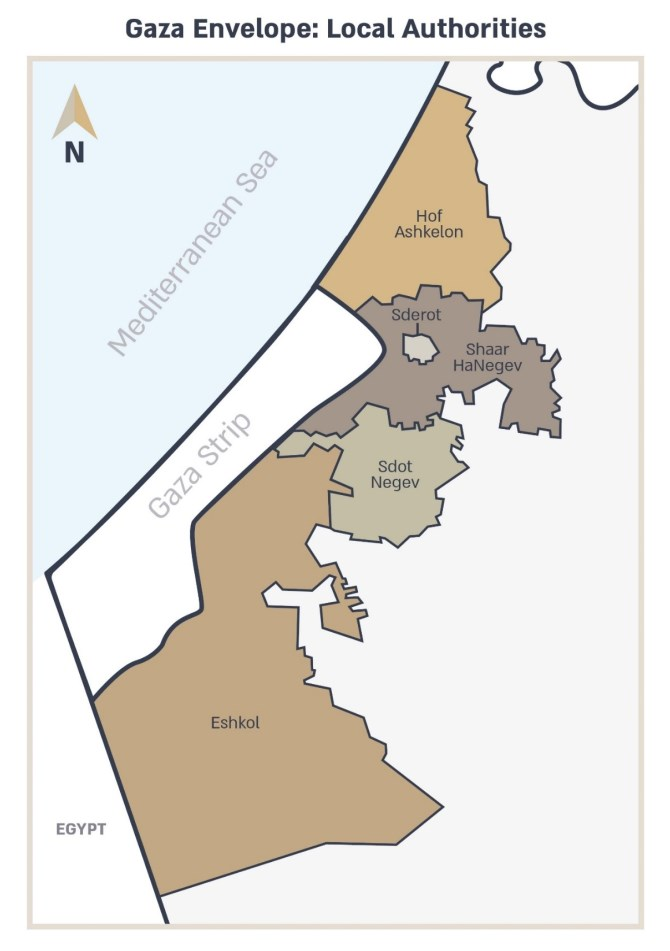 Map of Gaza envelope local authorities